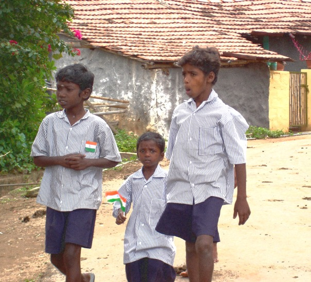 Children carrying the Indian Tricolor on Independence day